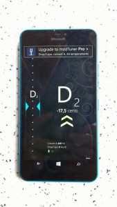 Ukulele tuner. Lumia 640XL with Tuner app, ukulele, guitar