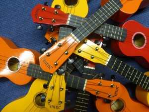 ukuleles in all colors